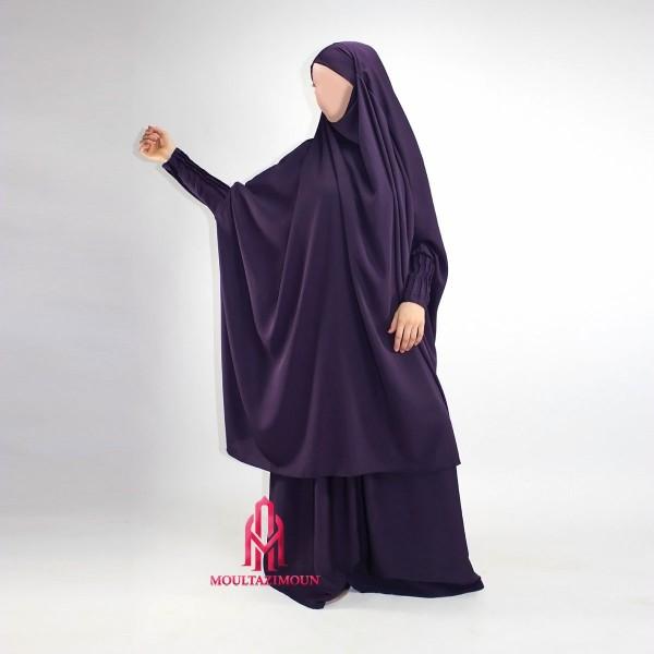 jilbab houda manche plissées aubergine
