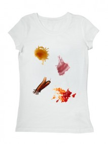 ketchup chocolate coffee wine food stains on a t shirt